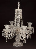 Decorative Arts, Continental:Other , PAIR OF CUT GLASS FOUR LIGHT CANDELABRA . 20th century . 20 incheshigh (50.8 cm) (each). ... (Total: 2 Items)