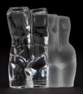 Art Glass:Daum, DAUM CRYSTAL SCULPTURE OF MALE AND FEMALE NUDE TORSOS . France,20th century. Marks: Daum, France. 4 inches height (10.2...