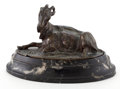 Sculpture, PATINATED BRONZE OF RECLINING GOAT AFTER ANTOINE-LOUIS BARYE (FRENCH, 1796-1875) . Circa 1900. Marks: BARYE. 3 inches hi...