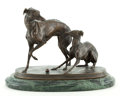 Bronze:European, FRENCH PATINATED BRONZE OF TWO GREYHOUNDS AT PLAY AFTER PIERRE JULES MÊNE (FRENCH, 1810-1879). 19th century. 6 inches high (...