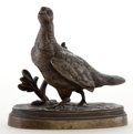 Bronze:European, PATINATED BRONZE PHEASANT AFTER JULES MOIGNIEZ (FRENCH, 1835-1894). Circa 1900. Marks: J MOIGNIEZ. 2-3/4 inches high (7...
