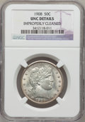 Barber Half Dollars: , 1908 50C --Improperly Cleaned-- NGC Details. Unc. NGC Census:(0/106). PCGS Population (2/125). Mintage: 1,354,545. Numismed...