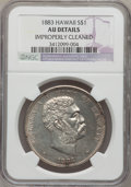 Coins of Hawaii: , 1883 $1 Hawaii Dollar--Improperly Cleaned-- NGC Details. AU. NGCCensus: (21/153). PCGS Population (56/190). Mintage: 500,0...