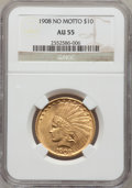 Indian Eagles: , 1908 $10 No Motto AU55 NGC. NGC Census: (29/590). PCGS Population(70/621). Mintage: 33,500. Numismedia Wsl. Price for prob...