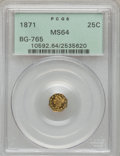 California Fractional Gold: , 1871 25C Liberty Octagonal 25 Cents, BG-765, R.3, MS64 PCGS. PCGSPopulation (25/4). NGC Census: (3/2). (#10592)...