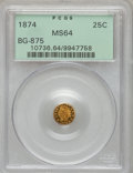 California Fractional Gold: , 1874 25C Indian Round 25 Cents, BG-875, High R.4, MS64 PCGS. PCGSPopulation (34/6). NGC Census: (0/4). (#10736)...