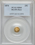 California Fractional Gold, 1874 25C Indian Round 25 Cents, BG-876, Low R.4, MS64 PCGS. Ex:Bass. PCGS Population (39/15). NGC Census: (1/1). (#10737...