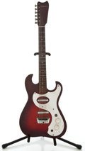 Musical Instruments:Electric Guitars, 1960's Silvertone 1449 Redburst Solid Body Electric Guitar....