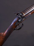 Shotgun:Double Barrel, Rare 11 Bore Percussion Double Barrel Shotgun Made and Engraved by C. Helfricht....