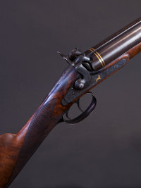 Rare 11 Bore Percussion Double Barrel Shotgun Made and Engraved by C. Helfricht