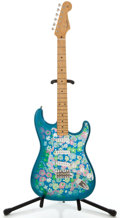 Musical Instruments:Electric Guitars, Fender Stratocaster CIJ Floral Blue Floral Solid Body ElectricGuitar, #P094926....