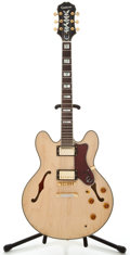 Musical Instruments:Electric Guitars, Epiphone Sheraton Natural Semi-Hollow Body Electric Guitar,#S040811024....
