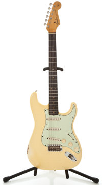 1964 Fender Stratocaster Olympic White Solid Body Electric Guitar, #L46633