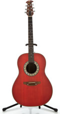 Musical Instruments:Acoustic Guitars, Ovation Red Acoustic Guitar, #130004....
