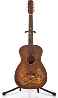Musical Instruments:Acoustic Guitars, 1950's Harmony Cowboy Graphic Sunburst Acoustic Guitar....