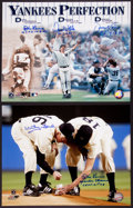 Baseball Collectibles:Photos, Yankees Perfection Multi Signed Oversized Photographs Lot of 2....
