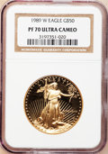 Modern Bullion Coins, 1989-W G$50 One-Ounce Gold Eagle PR70 Ultra Cameo NGC. NGC Census:(681). PCGS Population (218). Mintage: 54,570. Numismedi...