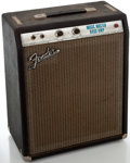 Musical Instruments:Amplifiers, PA, & Effects, 1970's Fender Music Master Bass Silverface Guitar Amplifier, #33091....
