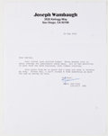 Books:Signed Editions, Joseph Wambaugh. Two Typed Letters Signed on Author's Letterhead. Single page each and dated 2002. Letters from Wambaugh to ...