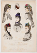 Antiques:Posters & Prints, Two Beautiful Hand-Colored Plates Featuring Women's Fashion Circa1869....