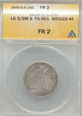 Seated Quarters, 1856-S/S 25C Large S Over Small S Fair 2 ANACS. FS-501, Briggs-4E.NGC Census: (0/5). PCGS Population (1/9). Numismedia Ws...