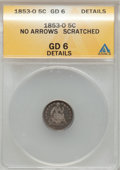 Seated Half Dimes: , 1853-O H10C No Arrows--Scratched-- ANACS. Good 6 Details. NGCCensus: (1/21). PCGS Population (1/39). Mintage: 160,000. Num...