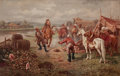 Paintings, Russian School (Early 20th Century). The Horsemen. Oil on canvas. 27 x 42 inches (68.6 x 106.7 cm). ...