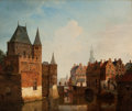 Paintings, HEINRICH JACOB LEVELT (Dutch, 1808-1889). Village Canal Scene, 1838. Oil on canvas laid on cradled panel. 17 x 19-3/4 in...
