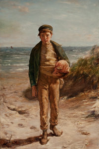 WILLIAM MCTAGGART (British, 1835-1910) The Runaway, 1870 Oil on canvas 36 x 24 inches (91.4 x 61