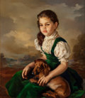 Paintings, FRANCISCO RIBERA GOMEZ (Spanish, b. 1907). Portrait of a Girl with Dachshund, 1956. Oil on canvas. 31-1/2 x 27-1/2 inche...