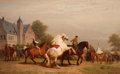 Fine Art - Painting, European:Antique  (Pre 1900), CHARLES PHILOGÈNE TSCHAGGENY (Belgian, 1815-1894). HorseWrangler, 1875. Oil on canvas. 37-3/4 x 59-1/2 inches (95.9 x1...