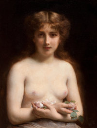 FRENCH SCHOOL Nude with Pink Roses, circa 1900 Oil on canvas 26 x 20 inches (66.0 x 50.8 cm)