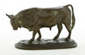Bronze:European, PATINATED BRONZE STANDING BULL . 19th century. 2-7/8 inches high(7.3 cm). ...