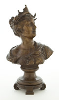 Sculpture, RAY & CLARE STERN ESTATE . PATINATED BRONZE BUST OF A WOMAN WEARING A CROWN ON INTEGRATED FOOTED SOCLE BASE . 14-1/2 ...