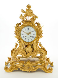 RAY & CLARE STERN ESTATE  LOUIS XV STYLE GILT BRONZE MANTLE CLOCK SIGNED ON PORCELAIN DIAL LASSALLE & CIE