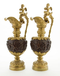 RAY & CLARE STERN ESTATE  PAIR OF RENAISSANCE REVIVAL PATINATED AND GILT BRONZE EWERS France, circa 1880