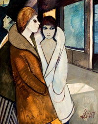 PROPERTY FROM A FLORIDA ESTATE  CHARLES LEVIER (American, 1920-2004) Two Women on the Street O