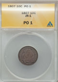 Early Dimes: , 1807 10C Poor 1 ANACS. JR-1. NGC Census: (2/214). PCGS Population(4/328). Mintage: 165,000. Numismedia Wsl. Price for pro...