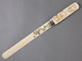Silver Smalls:Other , A JAPANESE IVORY, SILVER, MOTHER OF PEARL AND HARDSTONE PAGE TURNER. Unknown maker, Japan, circa 1880. 14 inches long (35....