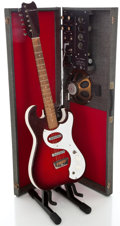 Musical Instruments:Electric Guitars, 1960's Silvertone 1457 Amp-in-Case Red Solid Body Electric Guitar....