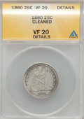 Seated Quarters: , 1880 25C --Cleaned-- ANACS. VF20 Details. NGC Census: (0/117). PCGSPopulation (4/190). Mintage: 13,600. Numismedia Wsl. Pri...