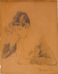 Fine Art - Work on Paper:Drawing, HERMAN EMIL POHLE (German, 1863-1914) and MAX HERMANN (Romanian,1872-1958). Two 19th-Century European Drawings: Contempla...(Total: 2 Items)