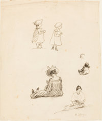 HENRI BAPTISTE LEBASQUE (French, 1865-1937) Two Drawings: A Sheet of Figure Studies and a Portrait of a Young W