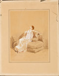 Fine Art - Work on Paper:Watercolor, PAUL GAVARNI (French, 1804-1866). Sans Ouvrage. Watercolor, ink and gouache on paper laid down on a second sheet of pape...