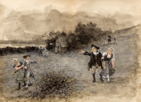 GEORGE HENRY BOUGHTON (American, 1833-1905) Colonial Scene Watercolor on paper 10 x 7 inches (25