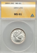 Barber Quarters: , 1893 25C MS61 ANACS. NGC Census: (11/186). PCGS Population (13/211). Mintage: 5,444,815. Numismedia Wsl. Price for problem ...