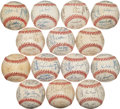 Autographs:Baseballs, 1996 National League Team Signed Baseballs Lot of 13....
