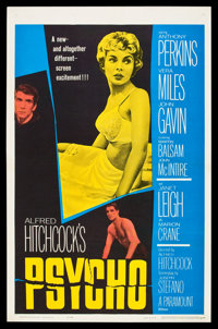 "Psycho (Paramount, 1960). One Sheet (27"" X 41.5""). Hitchcock"