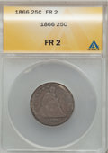 Seated Quarters: , 1866 25C Motto Fair 2 ANACS. NGC Census: (0/39). PCGS Population(0/43). Mintage: 16,800. Numismedia Wsl. Price for problem...