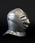 Militaria:Armor, Maximilian Style Close Helmet Together with an Associated Armor Collar....